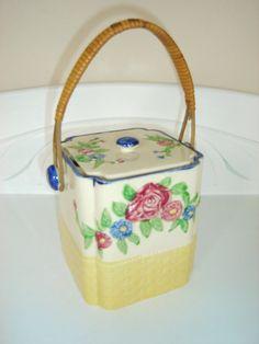 Vintage Pottery Cookie Jar Biscuit Barrel 40s by GrandAntiqueDecor, $10.00