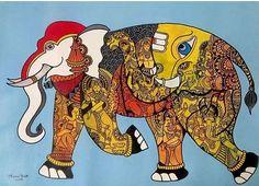 Buy Lord Krishna artwork number a famous painting by an Indian Artist Mrinal Dutt. Indian Art Ideas offer contemporary and modern art at reasonable price. Indian Folk Art, Indian Artist, Ganesha Art, Lord Ganesha, Traditional Paintings, Traditional Art, Madhubani Art, Art Competitions, Art Series