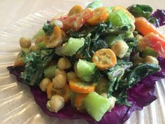 Day 14: January 14, 2016: The Arizona home-grown organic kumquat inspired salad. Farmers' market fresh organic kale, celery, red pepper, purple cabbage, and garbanzo beans. Refreshing.