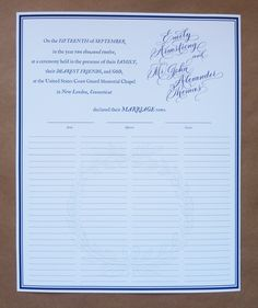 custom quaker marriage certificate. What I like about this is the watermark under the signatures -- classy!