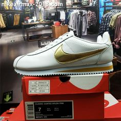 buy popular 85957 688ba Retro Nike Classic Cortez Special Men Running Shoes Leather White Golden