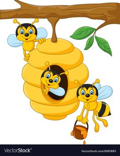 Cartoon branch of a tree with a beehive and a bee. Illustration of Cartoon branc ,