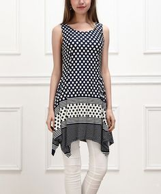 Look at this #zulilyfind! Navy & White Polka Dot Sidetail Sleeveless Tunic by Reborn Collection #zulilyfinds
