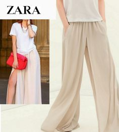 04c0c0df428 ZARA Layered Palazzo Trousers Beige Nude Wide Pants Sold Out  ZARA
