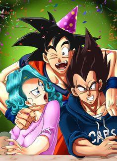 Goku, Bulma, and Vegeta