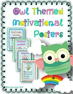 This top selling owl themed motivational poster set includes 7 fun and colorful posters. Each poster will inspire and motivate your students with an inspirational quote, while decorating your classroom in a cute owl theme. They will also encourage students to show respect for themselves and others and act in positive ways. Teachers and students love these posters! $