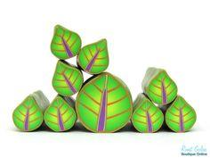 Green Leaf Cane , Green Polymer clay millefiori Leaf cane, raw and unbaked fimo polymer clay cane