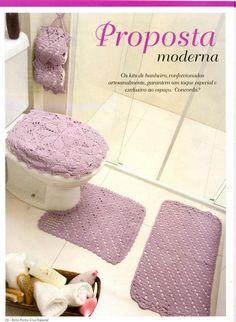 jogo de banheiro em barbante croche