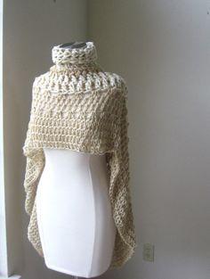 BEGE Romântico BOHEMIAN PONCHO Crochet, Xaile, Knit, Capelet, Gola Poncho, Chic, Boho, Moda, Primavera, Outono, Inverno, Presente para ela