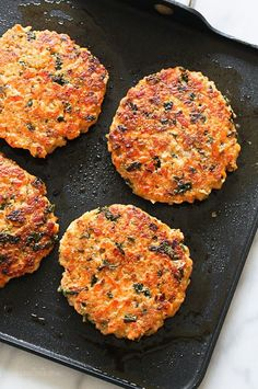 Wild salmon, quinoa, and kale – these burgers are not only super healthy, loaded with good-for-you omegas and tons of protein (21-1/2 grams of protein) they also taste delicious and are easy to make.