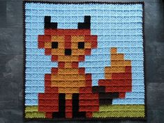Granny pixel haakwerk Diy Crochet, Fictional Characters, Fox, Plaid, Baby, Gingham, Infants, Baby Humor, Fantasy Characters