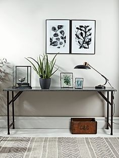 Slender but sturdy, our industrial style console table has a vintage inspired zinc look top and folding black legs, with a distressed finish to bring character to your living space. Each piece has a generous surface for displaying your favourite feature Console Furniture, Wooden Console Table, Living Furniture, Console Tables, Nice Furniture, Furniture Ideas, Small Office Design, Home Office Design, Home Office Decor