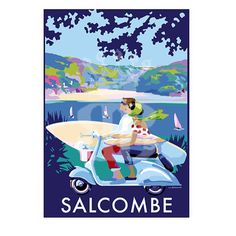 Salcombe scooter is available to buy at www.beckybettesworth.co.uk #travelposter #seasideprints #devonartist #beckybettesworth #salcombescooter #surfing #smallbiz #madebyme