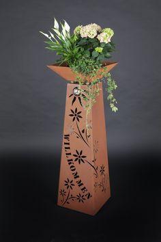Hängende galvanisierte Blatt Eisen Blumen Topf Portal Dekor Blumen Topf