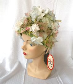 1960's Vintage John Jr Flower Toque Hat Unworn by MyVintageHatShop, $65.00