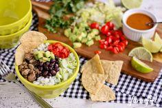 NEED!  Turkey Taco Bowls with Cilantro Lime Rice - www.afarmgirlsdabbles.com