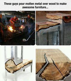 Molten metal meets wood...
