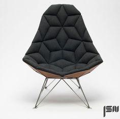 JSN design assembles diamond-shaped tiles into chair. Interior design inspiration, interior ideas, design
