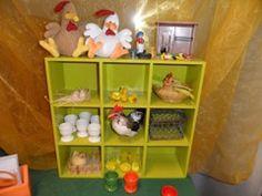 jufjanneke.nl - Het kippenhok - Een kijk-kastje met allemaal kuikens, hanen en kippen