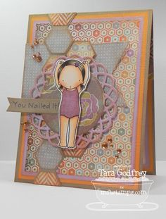 I made this card with the fab sketch at Sketch For You to Try with the MFT Pure Innocence Gymnast Girl and the Hexagon Die-namics.