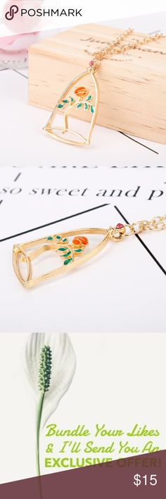 Beauty and the Beast Rose Necklace Quantity Available: 2 Jewelry Necklaces