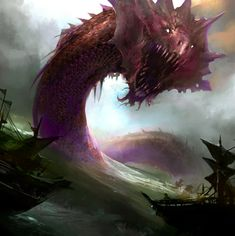 """""""Sea serpent"""" is a name applied to a large subset of aquatic monsters that resemble dragons or snakes. There are few defining features of sea serpents, other than their vague shape and immense size. Sea Dragon, Dragon Art, Water Dragon, Fantasy Monster, Monster Art, Monster High, Magical Creatures, Fantasy Creatures, Mythical Sea Creatures"""