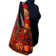 Vintage Fabric Retro Boho Bag, in a 60s 70s RED Flower Power Abstract design by WittyDawnUK on Etsy https://www.etsy.com/listing/168798650/vintage-fabric-retro-boho-bag-in-a-60s