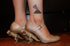 Gold Glitter T. Rex Heels by TheScienceBoutique