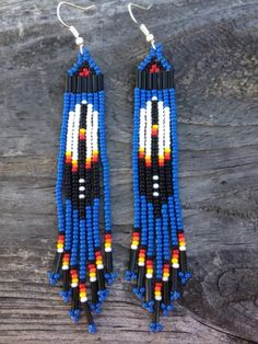 "Native American Style 3 3/4""long Blue Beaded Feather Earrings"