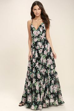 6a957ad1783f Your lonely days are over with the Legendary Romance Black Floral Print  Wrap Maxi Dress! A lightweight woven floral print maxi dress with an  elegant wrap ...