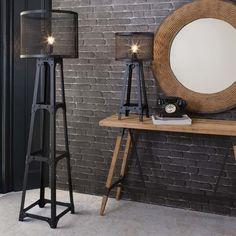Industrial Tower Floor Lamp - Modish Living - Black wire mesh industrial floor lamp
