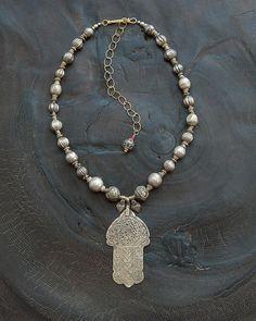 Hamsa Hand Pendant Designer Ethnic Jewelry  by AngelaLovettDesigns
