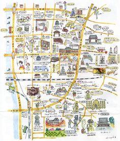 Kyoto Map, Vintage World Maps, Bullet Journal, Google
