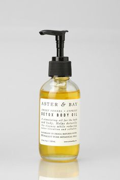 Aster & Bay Detox Body Oil. Handmade bath and body oil from Aster & Bay. Packed with stimulating organic essential oils helps detox your skin, reduce cellulite, and make your skin super glowy and awesome. 100% plant and essential oils.