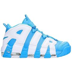 Air More Uptempo 96 University Blue Sneakers ($110) ❤ liked on Polyvore featuring men's fashion, men's shoes, men's sneakers, white, mens white sneakers, mens leather shoes, nike mens shoes, nike mens sneakers and mens navy blue sneakers