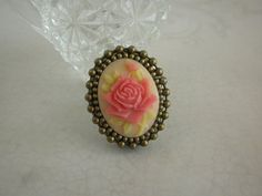 Victorian Pink Rose Poison Ring in Antiqued Bronze by TheQuietbee, $18.00