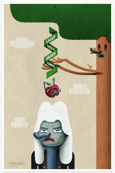 Exceptional Artworks by El Grand Chamaco. First law of physics. Newton and an apple
