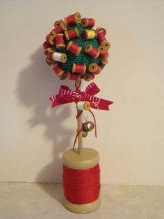 Unique Vintage Spool of Thread Topiary Tree
