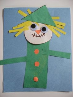 Scarecrow craft for kids - use shapes and create! Wonderful way to reienforce shape knowledge. Do not worry how they end up looking and try to avoid having a sample!