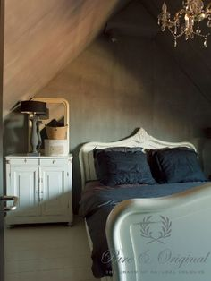 Crisp, white furniture complimented by soft matt walls and inky blue bed linen. White Furniture, Bedroom Furniture, Interior Architecture, Interior Design, Bedroom Paint Colors, Home Bedroom, Bedroom Ideas, Luxury Bedding, Decoration