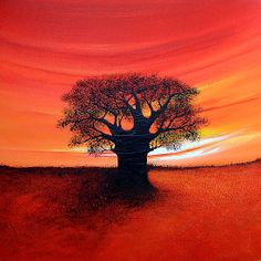 'Baobab Tree' by Shirley Shelton Small Canvas Paintings, Simple Acrylic Paintings, Easy Paintings, Landscape Paintings, Canvas Art, Painting Canvas, Baobab Tree, Contemporary African Art, Acrylic Painting For Beginners