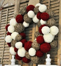 Red Wine Twine and Ivory Rustic Christmas Yarn Ball by ArtsieAni