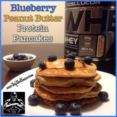 Blueberry Peanut Butter Protein Pancakes