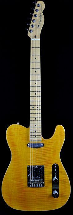 Wild West Guitars : Fender Select Carve Top Maple Telecaster - Amber