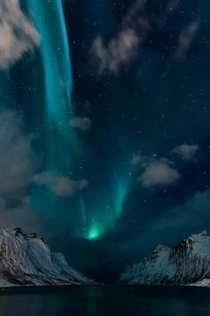 Arctic Circle, Northern lights shining over Erfjordbotn, Norway