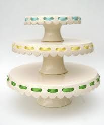 Eyelet cake plates with ribbons. Simple and lovely. Cake And Cupcake Stand, Love Cake, Pretty Cakes, Beautiful Cakes, Cake Pedestal, Cake Carrier, Cake Platter, Dessert Stand, Cupcakes