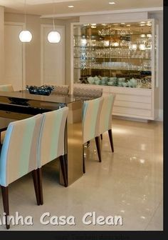 Dinning Room Tables, Elegant Dining Room, Dining Room Design, Bar Sala, Modern Home Bar, Muebles Living, Home Bar Designs, Interior Decorating, Interior Design