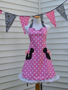 Pink Minnie Mouse Apron Inspired by Our Love of by ApronStyle