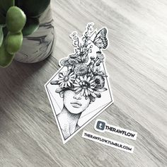 Dotwork flowers portrait tattoo, commission for Anna #TattooIdeasDibujos