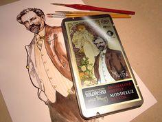 Portrét Alfonse Maria Muchy pro etiketu na akvarelové pastely Mondeluz – edice Galerie čokolády Mario, Pastel, Books, Cake, Libros, Book, Book Illustrations, Crayon Art, Libri